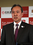 October 17, 2016, Tokyo, Japan -  Japan Airlines executive officer Jun Kato speaks at a press conference as JTB, Nippon Express, Mitsukoshi-Isetan Holdings and Japan Airlines form a new company Fun Japan Communications in Tokyo on Monday, October 17, 2016. Fun Japan Communications is the digital marketing company for tourists mainly target of Taiwan and ASEAN countries.   (Photo by Yoshio Tsunoda/AFLO) LWX -ytd-