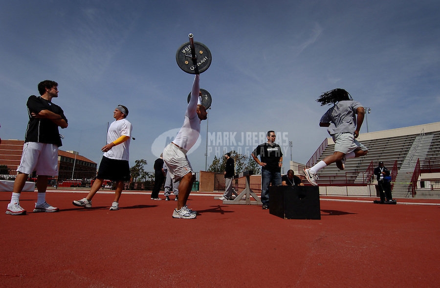 Apr 2, 2006; Los Angeles, CA, USA; Southern California Trojans players warm up prior to performing during the 2006 USC Pro Day at Katherine B. Loker Stadium in Los Angeles, CA. Mandatory Credit: Photo By Mark J. Rebilas