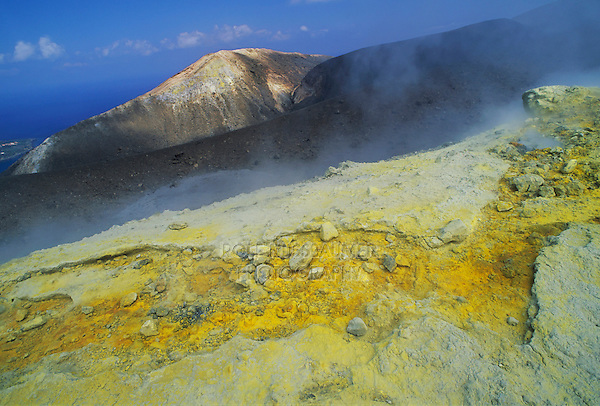 Steam vents with sulfur in crater, Vulcano, Vulcano Island, Aeolian Islands, Sicily, Italy