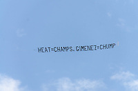 Sky banner at Miami Heat NBA 2013 Championship parade, Biscayne Boulevard, American Airlines Arena, Miami, FL, June 24, 2013