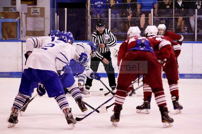 UK and Alabama get set for a face off during the University of Kentucky's men's club hockey game at the Lexington Ice Center in  Lexington, Ky., on Friday, October. 19, 2012.