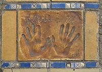 Hand print of the film star, Jacqueline Bisset, outside the Palais des Festivals et des Congres, Cannes, France.