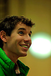 01/05/2014 Trento, Italia. 62nd Trento Film Festival.<br /> USA's Alex Honnold, the most daring solitary climber, recounts his incredible free solo climbing ascents without the assistance of ropes and protective gear, from the Yosemite area to Mexico, along with his first experience in Patagonia, completing his umpteenth extraordinary exploit: the Fitz Roy traverse at Trento.