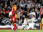 Real Madrid's Raphael Varane, Gonzalo Higuain, Sergio Ramos celebrate goal and Galatasaray's Dany Nounkeu dejected during the quarter final Champion League match. April 3, 2013.(ALTERPHOTOS/Alconada)