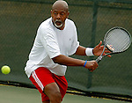 Donald Means, 63, from Henderson, N.C., danced around the tennis court at the 2007 Senior Olympics June 23. He lost to 63-year-old Chocky White, from Henderson, N.C., 6-4, 6-3.