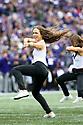 SEATTLE, WA - SEPTEMBER 14: Washington Cheer member Megan Dolan entertained fans during the college football game between the Washington Huskies and the Hawaii Rainbow Warriors on September 14, 2019 at Husky Stadium in Seattle, WA.