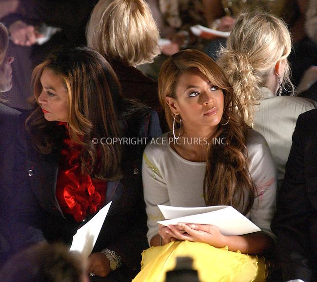 WWW.ACEPIXS.COM . . . . . ....Beyonce Knowles at the Oscar de la Renta Fall 2005 Show, NYC, 020705....Please byline: Kristin Callahan - ACE PICTURES..... *** ***..Ace Pictures, Inc:  ..Philip Vaughan (646) 769-0430..e-mail: info@acepixs.com..web: http://www.acepixs.com