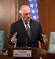 In this photo provided by the United States Department of State, U.S. Secretary of State Rex Tillerson delivers remarks at a joint press availability at the Aso Rock Presidential Villa, Abuja, Nigeria on March 12, 2018. US President Donald J. Trump announced on Tuesday, March 13, 2018 that he is removing Tillerson from his post and replacing him with CIA Director Mike Pompeo.<br /> CAP/MPI/CNP/RS<br /> &copy;RS/CNP/MPI/Capital Pictures