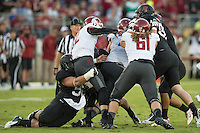 STANFORD, CA - September 13, 2014: The Stanford Cardinal vs Washington State Cougars game at Stanford Stadium in Stanford, CA. Final score, Stanford Cardinal 34, Washington State Cougars 17