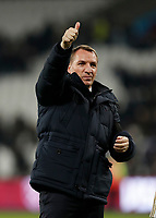 28th December 2019; London Stadium, London, England; English Premier League Football, West Ham United versus Leicester City; Leicester City Manager Brendan Rogers giving the thumbs up towards the Leicester City fans after the final whistle  - Strictly Editorial Use Only. No use with unauthorized audio, video, data, fixture lists, club/league logos or 'live' services. Online in-match use limited to 120 images, no video emulation. No use in betting, games or single club/league/player publications