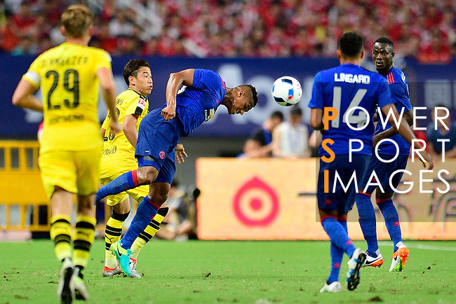 Manchester United winger Antonio Valencia (c) heads the ball in the midfield during the International Champions Cup China 2016, match between Manchester United vs Borussia  Dortmund on 22 July 2016 held at the Shanghai Stadium in Shanghai, China. Photo by Marcio Machado / Power Sport Images