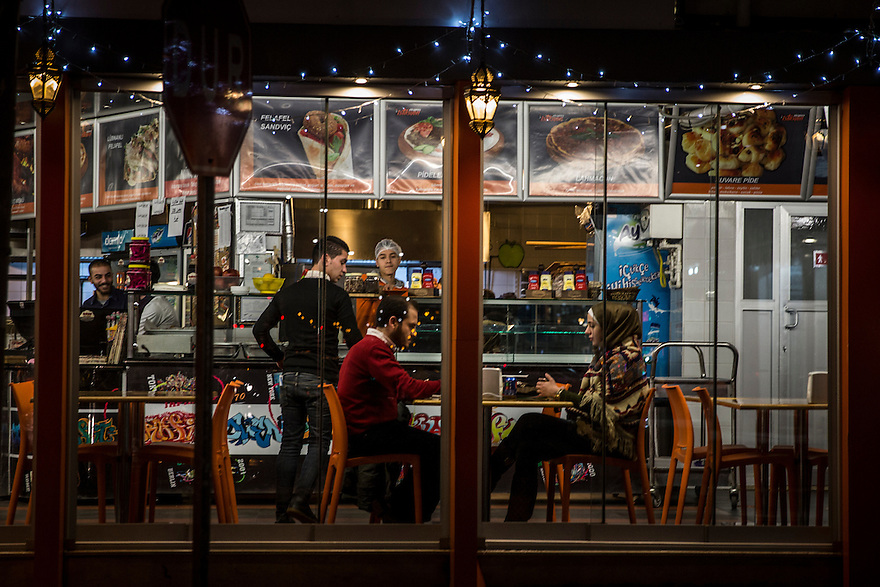 A couple dines at Istasyon Ekspres, a popular Syrian-owned restaurant in Gaziantep. Many new Syrian owned businesses have sprung up in Gaziantep and around Turkey since 2011.