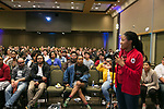 Kendall Sprinkle asks a question, Friday, April 21, 2017 in the Lincoln Park Student Center. (Photo by Diane M. Smutny)