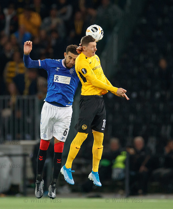 03.10.2019 Young Boys of Bern v Rangers: Connor Goldson and Christian Fassnacht