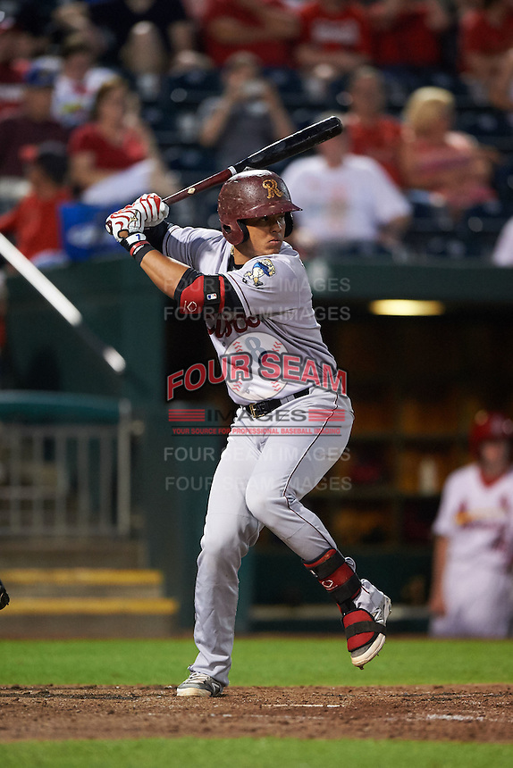Frisco RoughRiders designated hitter Jorge Alfaro (8) at bat during a game against the Springfield Cardinals  on June 4, 2015 at Hammons Field in Springfield, Missouri.  Frisco defeated Springfield 8-7.  (Mike Janes/Four Seam Images)