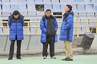 20190306 - LARNACA , CYPRUS : North Korean head coach Kim Kwang-Min<br />  (middle) pictured during a women's soccer game between Korea DPR and Italy , on Wednesday 6 March 2019 at the GSZ Stadium in Larnaca , Cyprus . This is final of  the Cyprus Womens Cup 2019 , a prestigious women soccer tournament as a preparation on the FIFA Women's World Cup 2019 in France . PHOTO SPORTPIX.BE | STIJN AUDOOREN