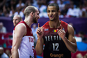 5th September 2017, Fenerbahce Arena, Istanbul, Turkey; FIBA Eurobasket Group D; Turkey versus Belgium; Small Forward Jean Salumu #12 of Belgium reacts during the match