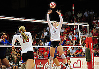 Wisconsin's Janelle Gabrielsen sets for Elle Ohlander, as the Badgers volleyball team goes up against Duke on Friday at the University of Wisconsin Field House in Madison
