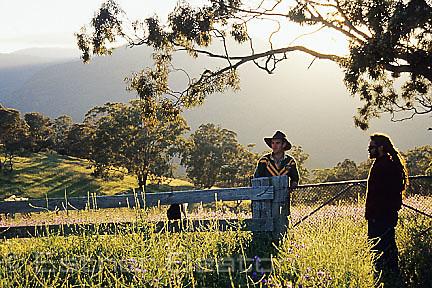 Woodland ecologists early morning at Nanangroe near Gundagai, NSW