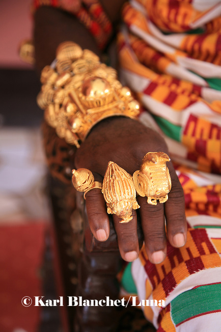 The hands of the Chief of Bechem in the Brong Ahafo region are covered with golden rings and bracelets