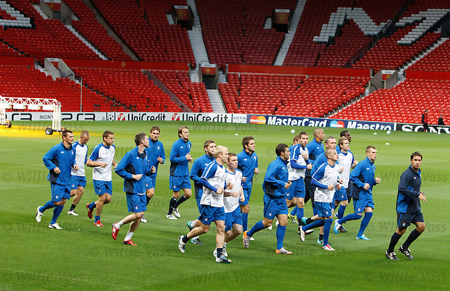 Adam Owen leads the team around Old Trafford