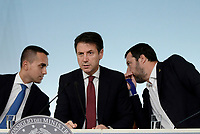 Roma, 20 Ottobre 2018<br /> Luigi Di Maio, Giuseppe Conte,Matteo Salvini.<br /> Palazzo Chigi<br /> Conferenza stampa al termine del Consiglio dei ministri sul Def