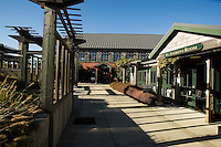 Courtyard with exterior of McKee's Pub and St Andrews Room, Bandon Dunes Golf Resort, Bandon Oregon