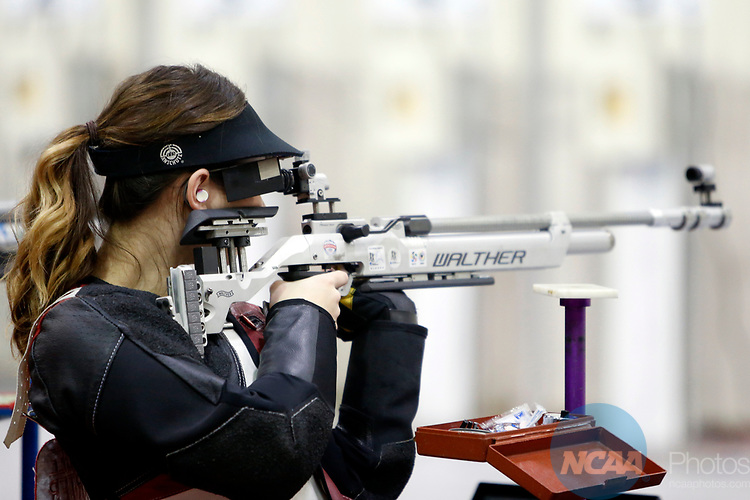 COLUMBUS, OH - MARCH 11:  Jaycee Carter, of the University of Nebraska, competes during the Division I Rifle Championships held at The French Field House on the Ohio State University campus on March 11, 2017 in Columbus, Ohio. Carter finished eighth in the individual championship with a score of 79.3. (Photo by Jay LaPrete/NCAA Photos via Getty Images)