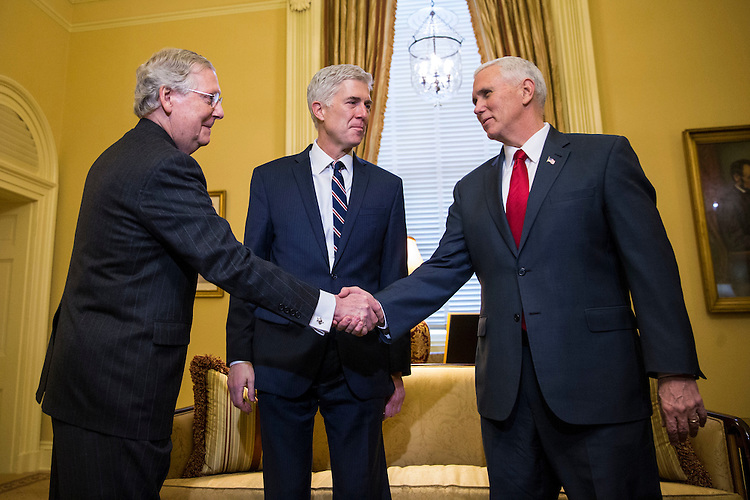 From left, Senate Majority Leader Mitch McConnell of Kentucky, Supreme Court Nominee Judge Neil Gorsuch, and Vice President Mike Pence, on Capitol Hill, in Washington, Feb. 1, 2017. (Al Drago/Pool/The New York Times)