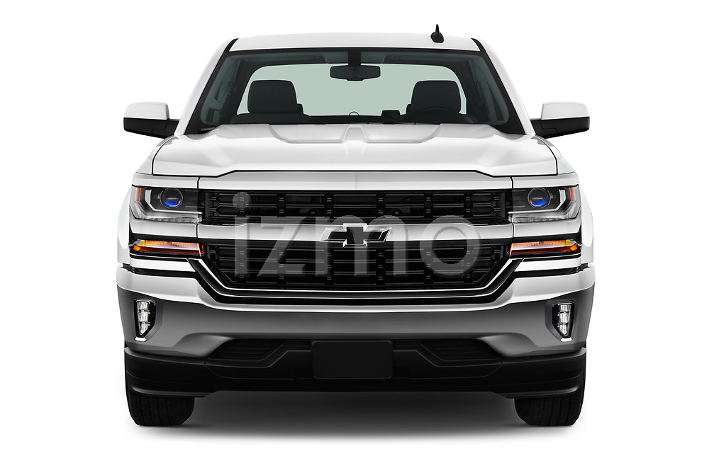 Car photography straight front view of a 2017 Chevrolet Silverado-1500 LT-Crew 4 Door Pick-up Front View