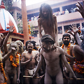 Haridwar 11-13.02.2010 India..The Maha (Great) Kumbh Mela in Haridwar. Pilgrims and Sadhus in great number from around India visit here to bath at the banks of the river Ganges. They belive that a holy dip in sacred river during Maha Kumbh takes human out of the circle of life and death. Sadhus.photo Maciej Jeziorek/Napoimages..Haridwar 12.02.2010 Indie.Kumbh Mela ( Swieto Dzbana ). Pielgrzymi i Sadhu ( Swieci - hinduscy wedrowni asceci) przybywaja tu zanurzyc sie w Gangesie. Wierza oni, ze pozwoli im to wyrwac sie z cyklu narodzin i smierci..fot. Maciej Jeziorek/Napoimages.