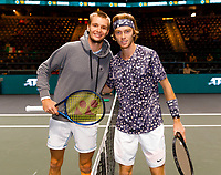 Rotterdam, The Netherlands, 9 Februari 2020, ABNAMRO World Tennis Tournament, Ahoy, Andrey Rublev (RUS), Alexander Bublik (KAZ).<br /> Photo: www.tennisimages.com