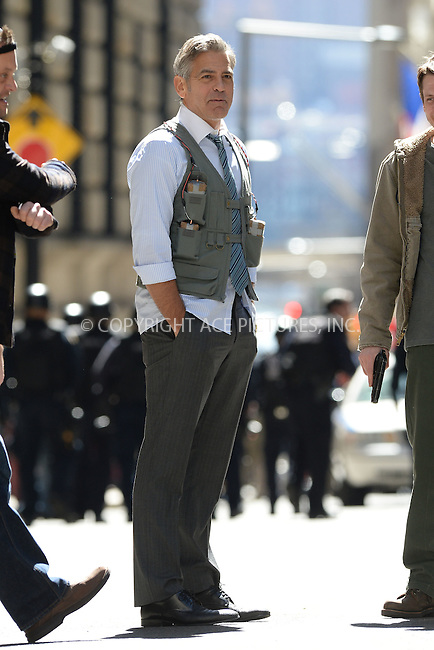 WWW.ACEPIXS.COM<br /> April 11, 2015 New York City<br /> <br /> George Clooney on the film set of 'Money Monster' in the Financial District of Manhattan on April 11, 2015 in New York City. <br /> <br /> By Line: Kristin Callahan/ACE Pictures<br /> ACE Pictures, Inc.<br /> tel: 646 769 0430<br /> Email: info@acepixs.com<br /> www.acepixs.com