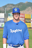 Colin Hering (28) of the Ogden Raptors poses for a photo during media day on June 14, 2014 at Lindquist Field in Ogden, Utah. (Stephen Smith/Four Seam Images)