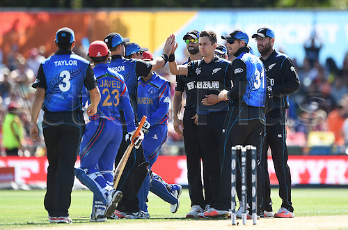 08.03.2015. Napier, New Zealand.  Trent Boult celebrates the wicket of Javed Ahmadi during the ICC Cricket World Cup match between New Zealand and Afghanistan at McLean Park in Napier, New Zealand. Sunday 8 March 2015.