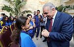 Palestinian Prime Minister Mohammad Ishtayeh, meets the Champions Club children from the Gaza Strip, in the West Bank city of Ramallah, August 22, 2019. Photo by Prime Minister Office