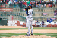 Cedar Rapids Kernels relief pitcher Moises Gomez (41) during a Midwest League game against the South Bend Cubs at Four Winds Field on May 8, 2019 in South Bend, Indiana. South Bend defeated Cedar Rapids 2-1. (Zachary Lucy/Four Seam Images)