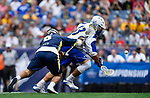 FOXBORO, MA - MAY 28: Kevin Reisman #13 of the Limestone Saints and Danny Loprete #8 of the Merrimack Warriors battle for the ball during the Division II Men's Lacrosse Championship held at Gillette Stadium on May 28, 2017 in Foxboro, Massachusetts. (Photo by Larry French/NCAA Photos via Getty Images)