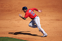 Boston Red Sox designated hitter Blake Swihart (23) steals second base during a Spring Training game against the Pittsburgh Pirates on March 9, 2016 at McKechnie Field in Bradenton, Florida.  Boston defeated Pittsburgh 6-2.  (Mike Janes/Four Seam Images)