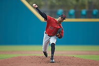 San Diego State Aztecs starting pitcher Aaron Eden (35) in action against the UNCG Spartans at Springs Brooks Stadium on February 16, 2020 in Conway, South Carolina. The Spartans defeated the Aztecs 11-4.  (Brian Westerholt/Four Seam Images)