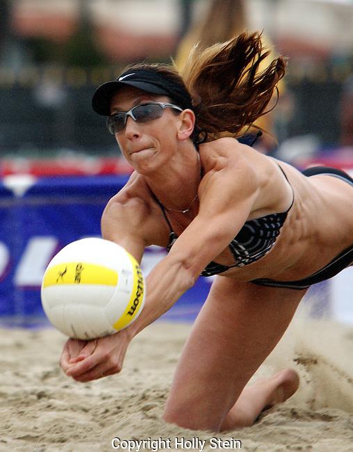 Dianne DeNechochea digs the ball during the AVP Santa Barbara Open.