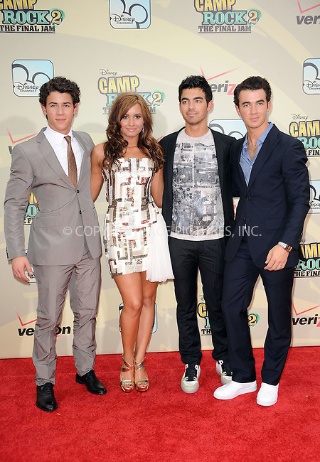 WWW.ACEPIXS.COM . . . . . ....August 18 2010, New York City....(L-R) Musicians Nick Jonas, Demi Lovato, Joe Jonas and Kevin Jonas arriving at the premiere of 'Camp Rock 2: The Final Jam' at Alice Tully Hall, Lincoln Center on August 18, 2010 in New York City.....Please byline: KRISTIN CALLAHAN - ACEPIXS.COM.. . . . . . ..Ace Pictures, Inc:  ..(212) 243-8787 or (646) 679 0430..e-mail: picturedesk@acepixs.com..web: http://www.acepixs.com