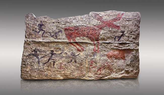 Fresco of human figures around a deer. None of the figures carry weapons and some a dressed in leopard costumes. The figures seem to be trying to hold on or touch the deer amd one figure appears to be holding its tongue. 6000 BC, Catalhoyuk Collections. Museum of Anatolian Civilisations, Ankara. Against a grey background