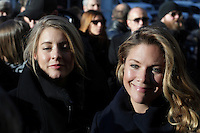 Melanie Joly (L) and Justin Trudeau's wife Sophie Gregoire (R) atttend the funeral of Rene Angelil, , Friday Jan. 22, 2016 at Notre-Dame Basilica in Montreal, Canada.<br /> <br /> <br /> <br /> <br /> <br /> <br /> <br /> <br /> <br /> <br /> <br /> <br /> <br /> .