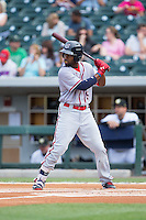 Brian Goodwin (15) of the Syracuse Chiefs at bat against the Charlotte Knights at BB&T BallPark on June 1, 2016 in Charlotte, North Carolina.  The Knights defeated the Chiefs 5-3.  (Brian Westerholt/Four Seam Images)