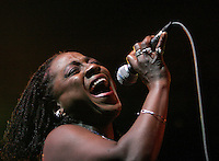 INDIO, CA - APRIL 25, 2008:  Lead singer Sharon Jones of the Dap Kings performs at Coachella.  This is the 9th annual Coachella Valley Music and Arts Festival in Indio. CA. held on April 25-27, 2008.