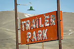Red, roadside Trailer Park neon sign along US 95, Paradise Hill, Nev.