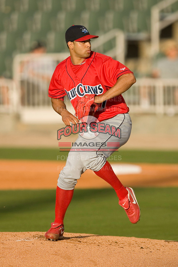 Starting pitcher Jesus Sanchez #27 of the Lakewood BlueClaws in action versus the Kannapolis Intimidators at Fieldcrest Cannon Stadium May 16, 2009 in Kannapolis, North Carolina. (Photo by Brian Westerholt / Four Seam Images)