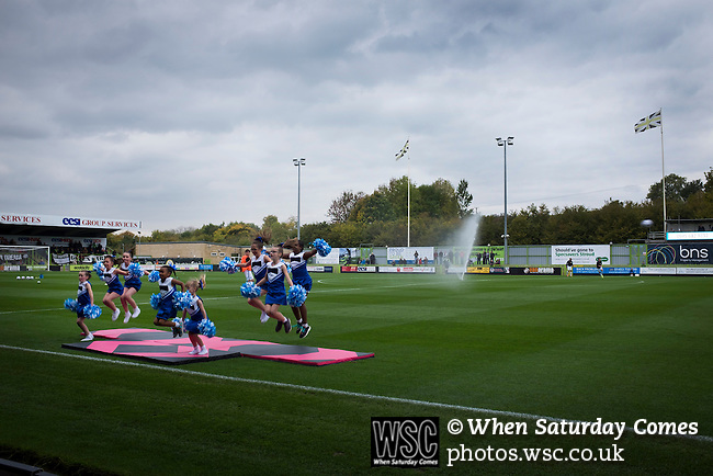 Forest Green Rovers 0 Tranmere Rovers 2, 17/10/2015, New Lawn, National League. A group of young dancers entertaining the crowd at the New Lawn, home to Forest Green Rovers, prior to their match against Tranmere Rovers in the National League. The club is based in the village of Nailsworth in Gloucestershire and is owned by businessmen Dale Vince who doesn't allow meat products to be sold to supporters in the ground. The visitors from Merseyside won this game by 2-0 but the hosts remained top of the division. Photo by Colin McPherson.