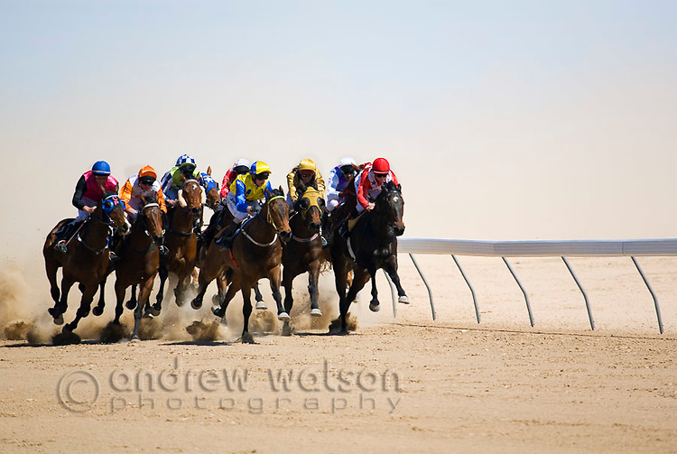 Horse racing in the outback at the Birdsville Cup races.  Every September the remote town of Birdsville in southwest Queensland hosts thousands of visitors for the most famous racing carnival in outback Australia.  Birdsville, Queensland, AUSTRALIA.